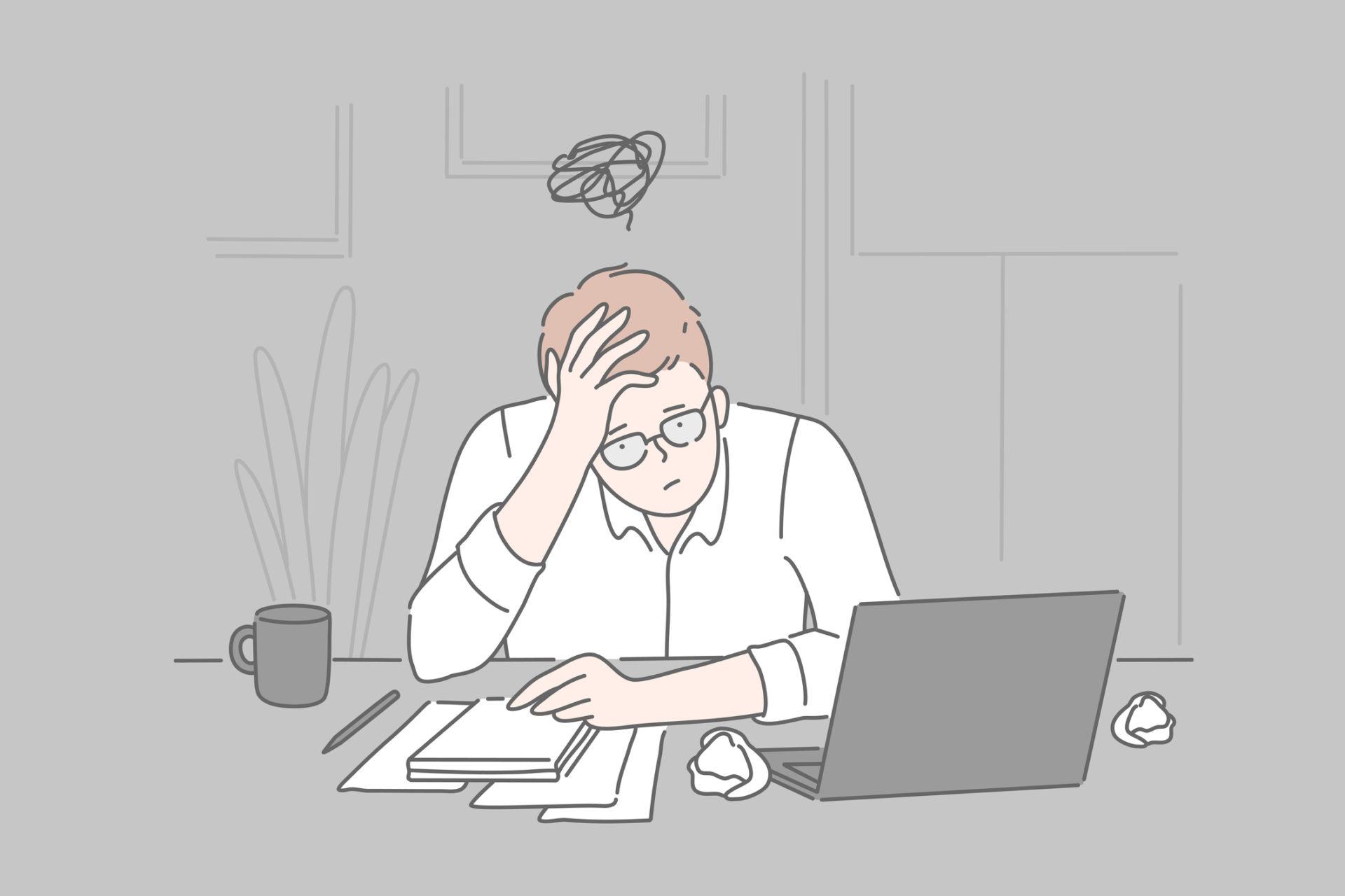 Bankruptcy, burnout, collapse concept.