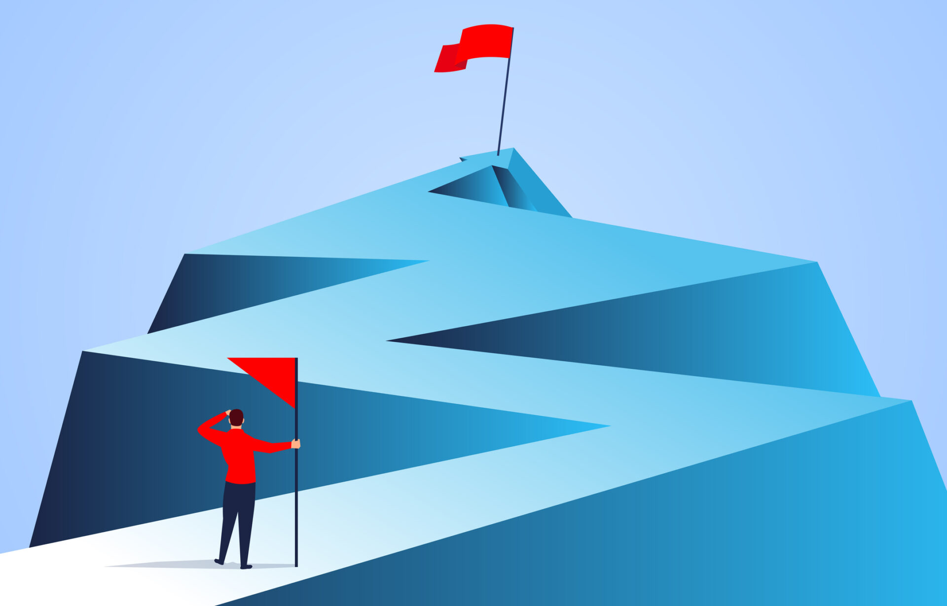 Businessman holding a flag looking at the flag farther from the top of the arrow
