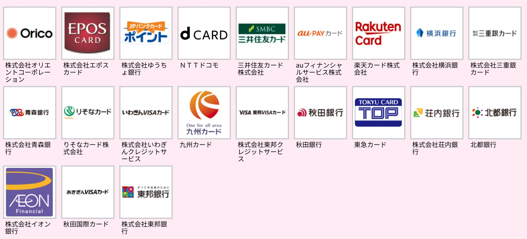 クレジットカード21種類