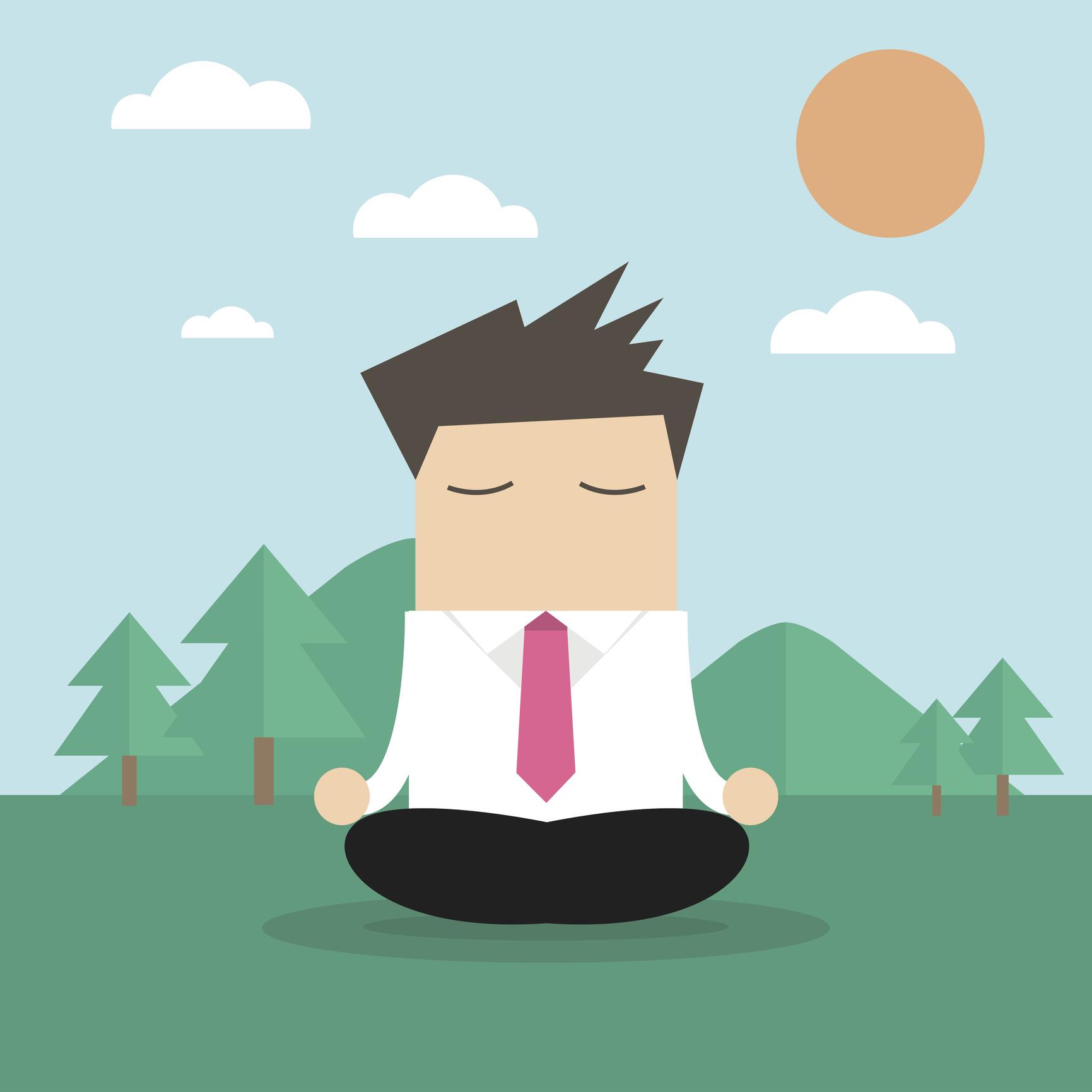 Businessman doing yoga