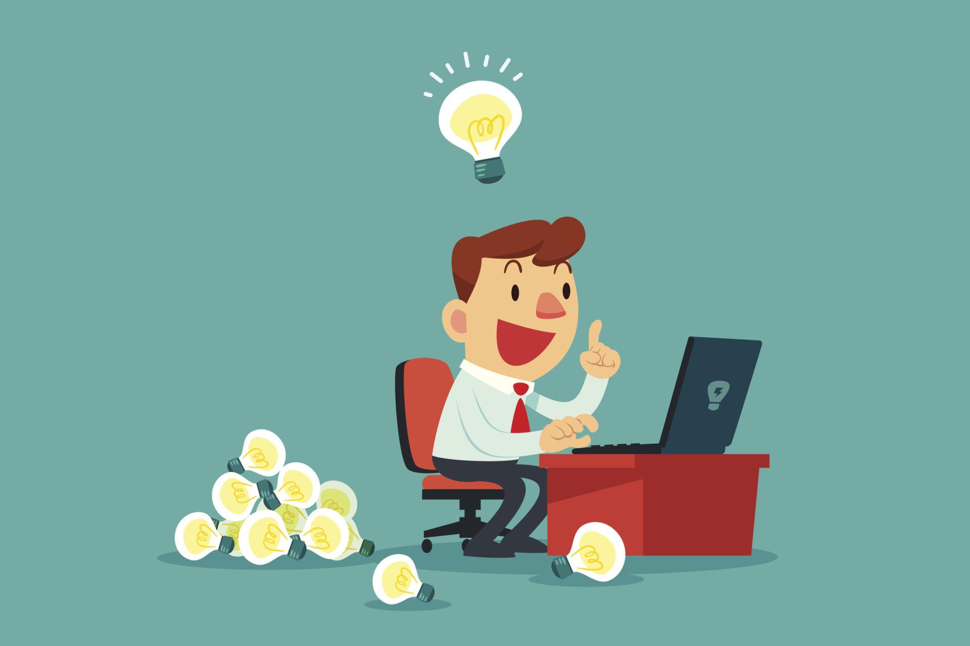 businessman at his desk creating a lot of idea bulbs