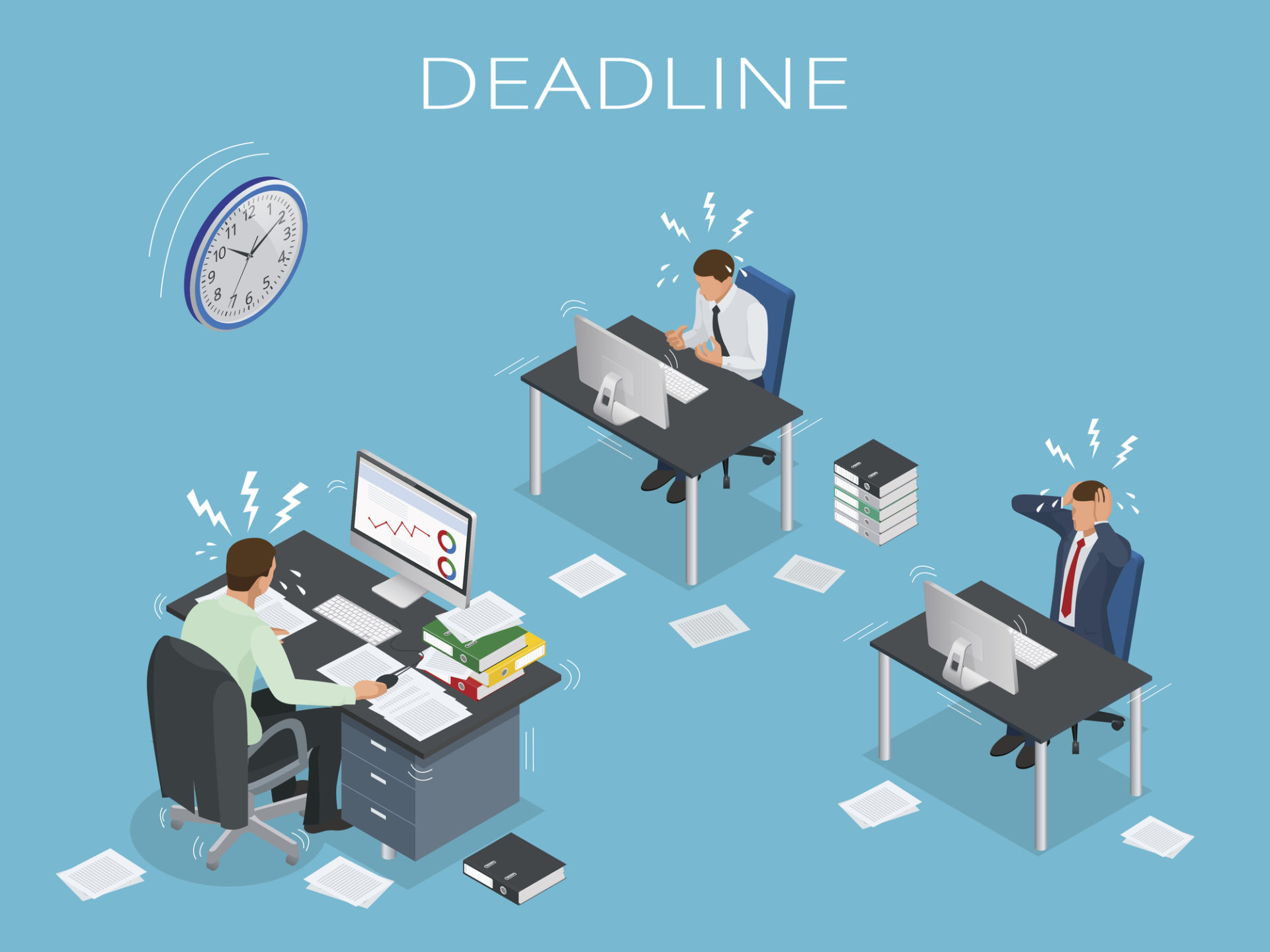 Deadline Concept of overworked man Time to work Time management project plan schedule Sand clock Flat 3d vector isometric illustration
