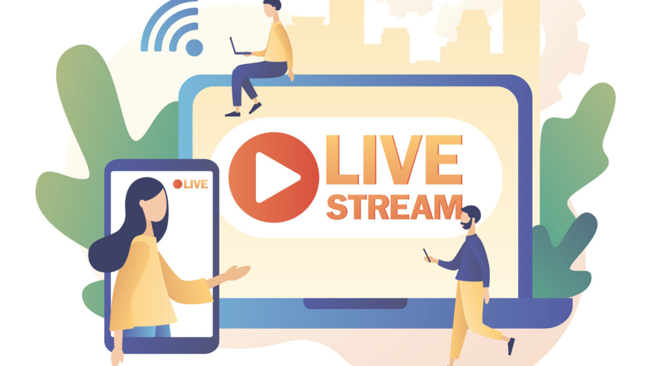 Live streaming. Online video chat. Tiny people that conduct and watch live stream in social networks. Modern flat cartoon style. Vector illustration on white background