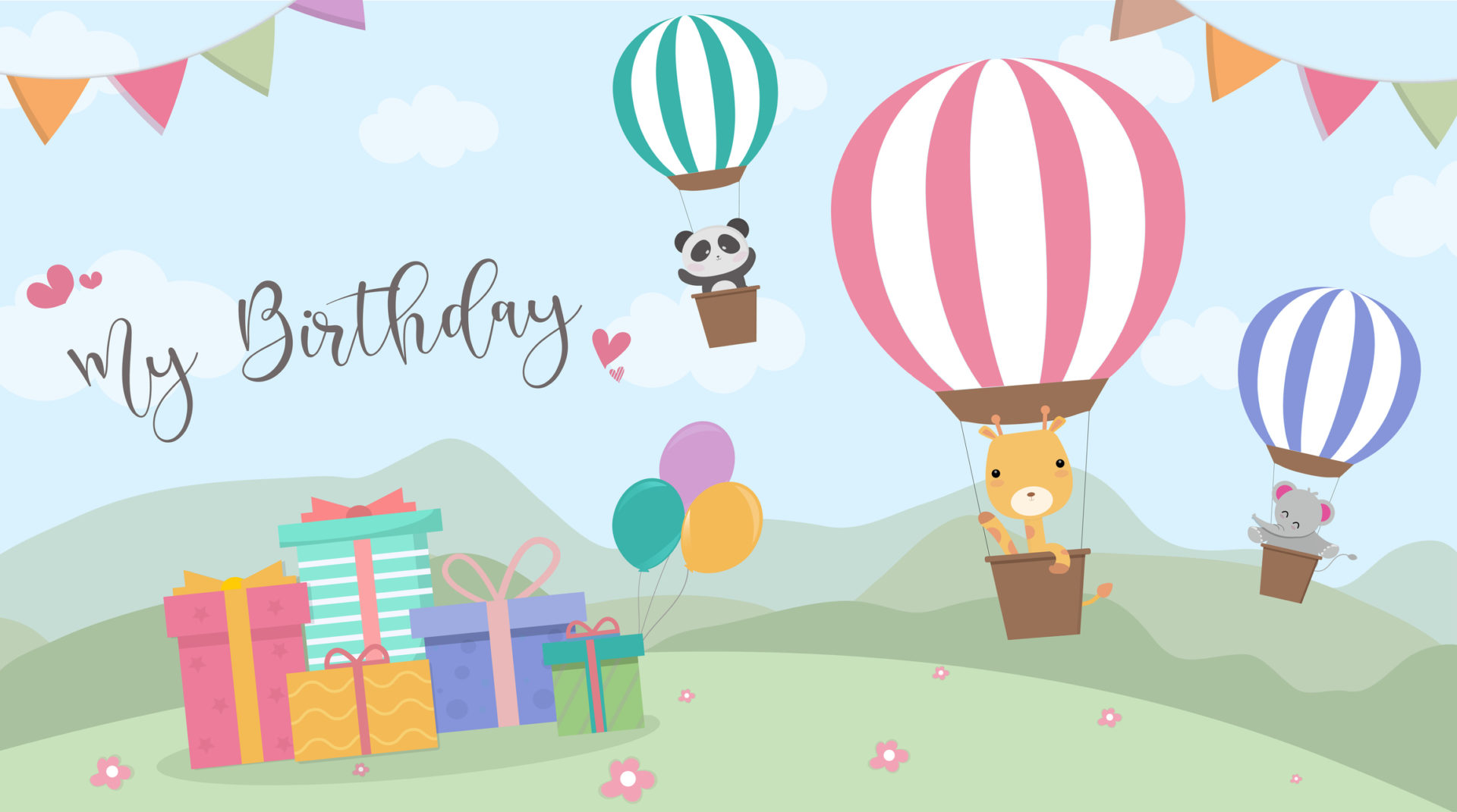 Happy Birthday cartoon card with air balloons,