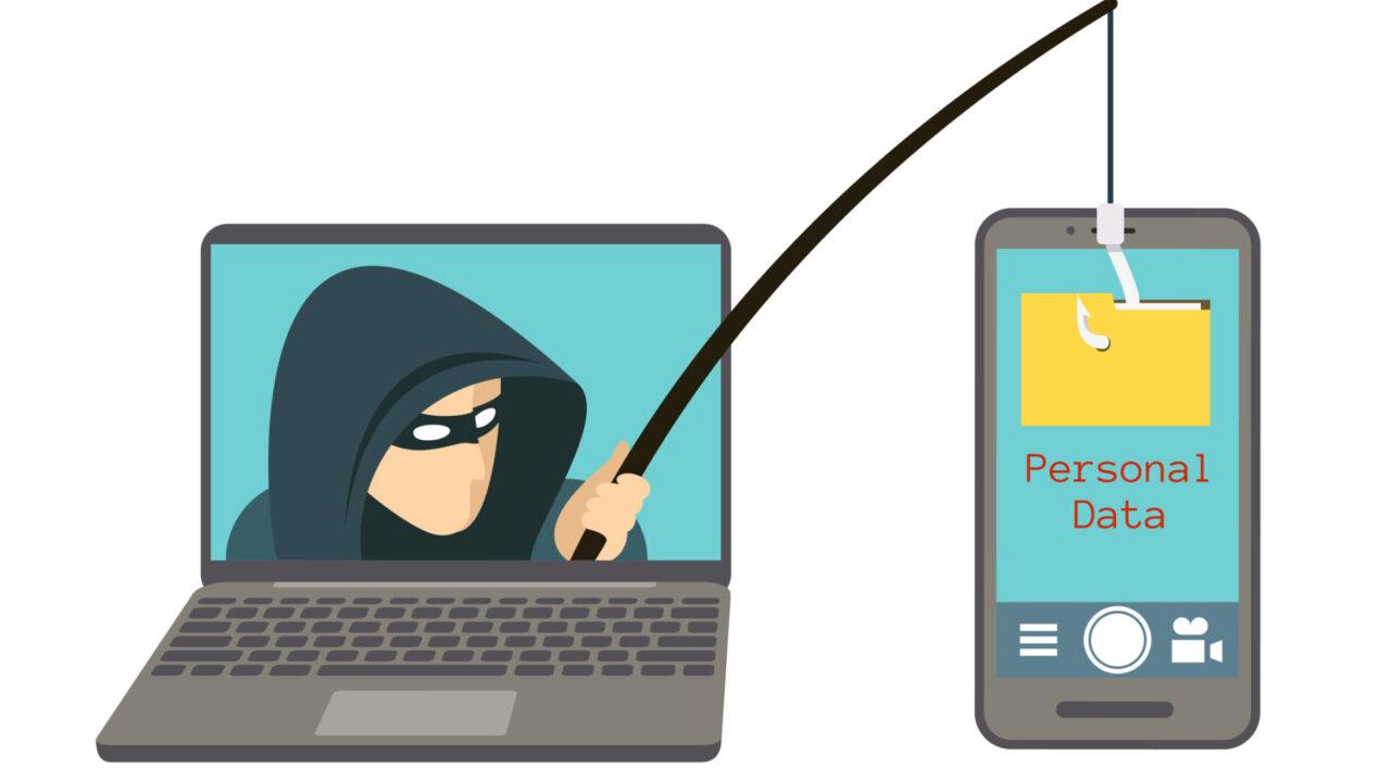 Phishing scam, hacker attack on smartphone vector illustration