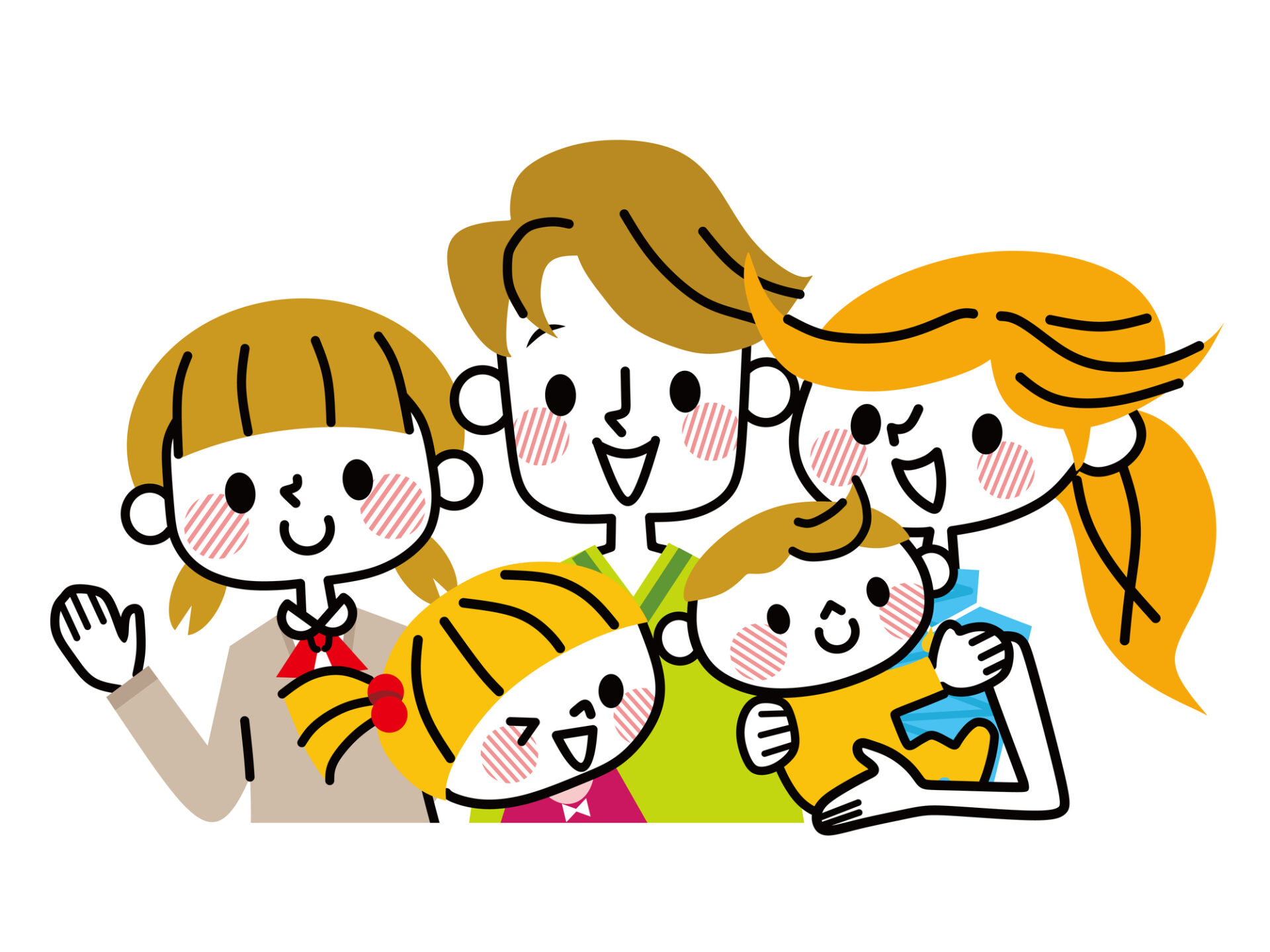 Illustration of family. / A family with a smile.