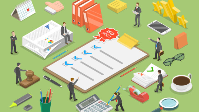 3D Isometric Flat Vector Conceptual Illustration of Quality Management System.