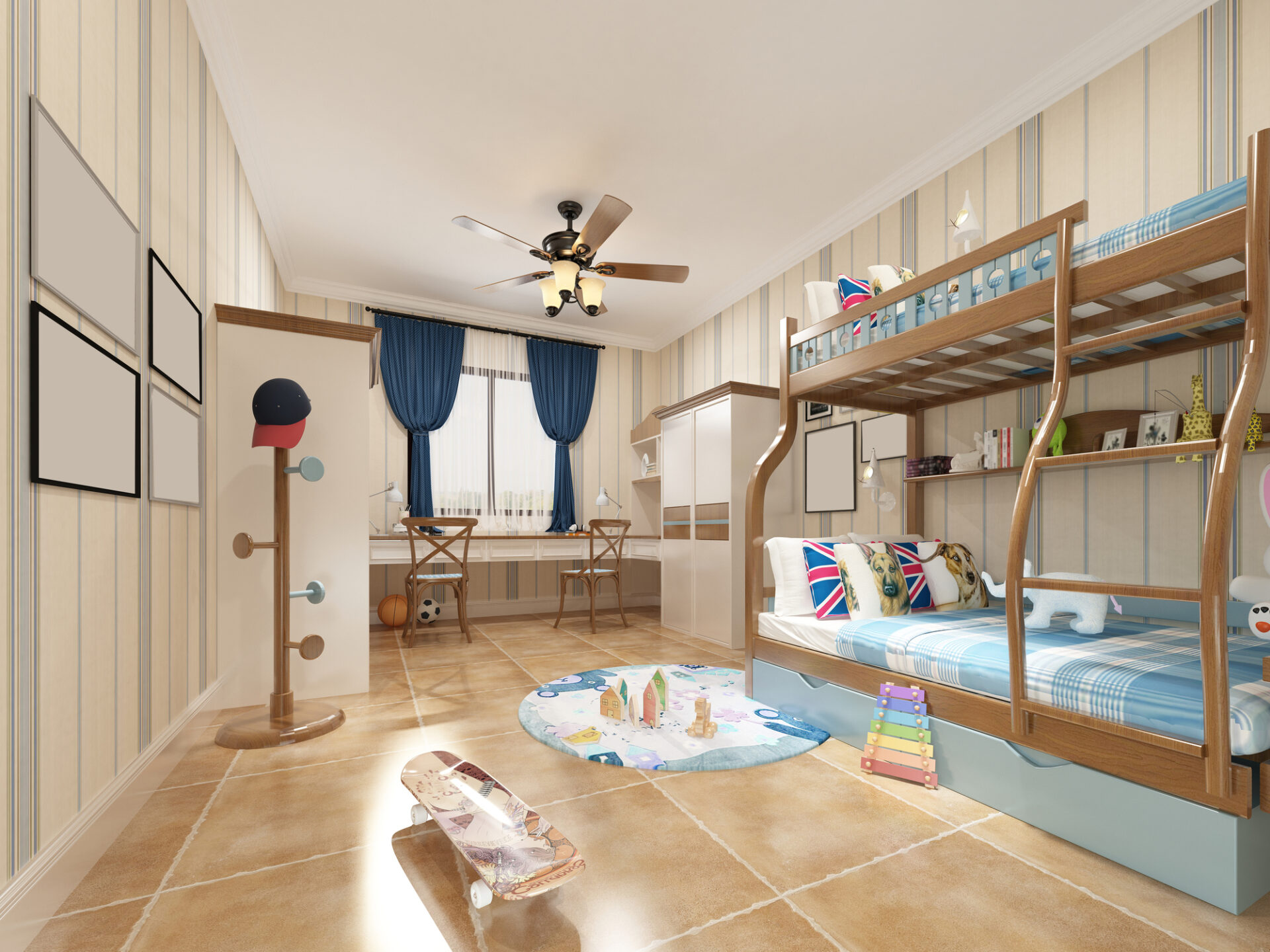 3d render of kid room with bunkbed