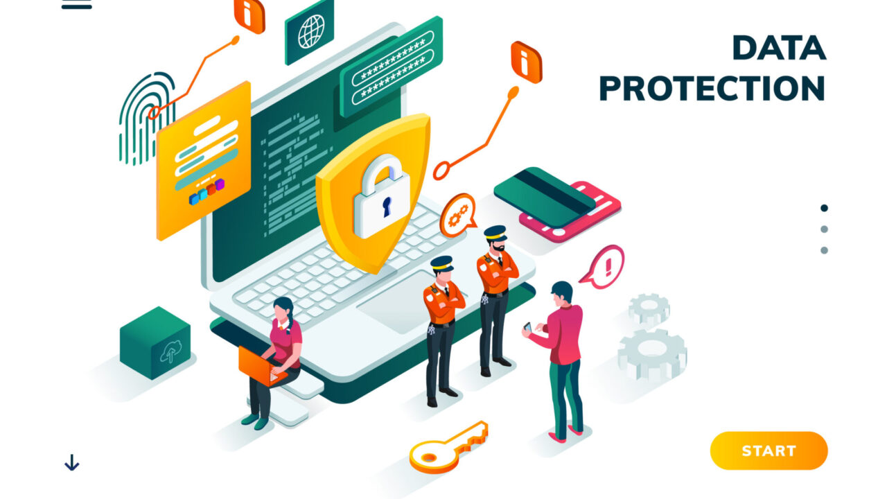 Isometric banner for internet data protection