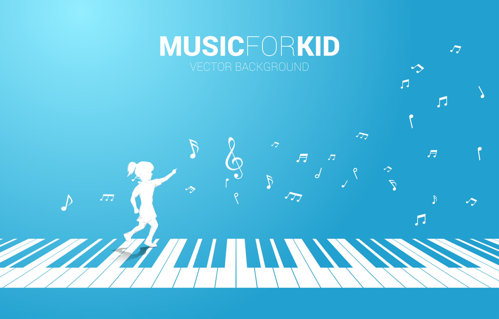 Vector silhouette of girl running with piano key with flying music note .